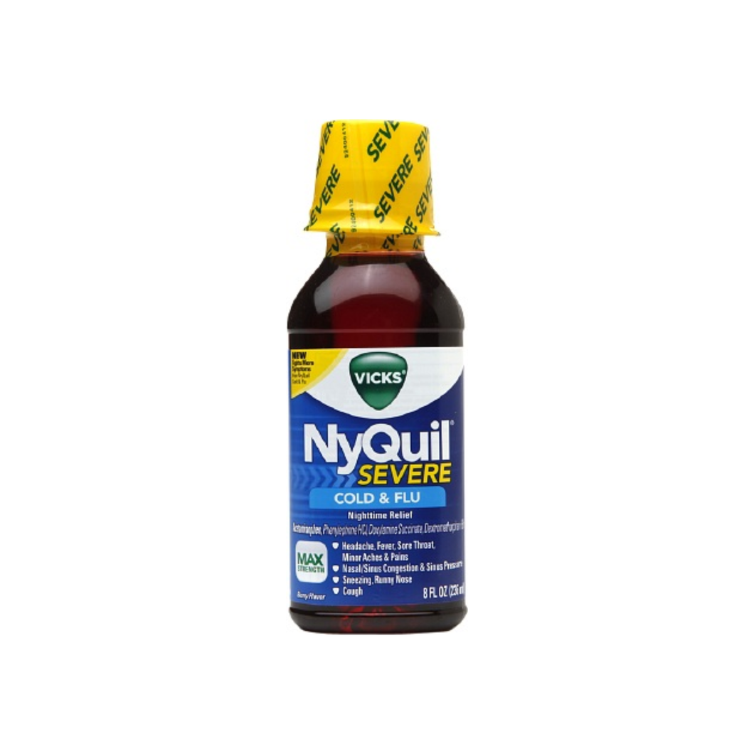 Vicks  Nyquil Severe Cold & Flu Nighttime Relief Liquid, Berry, 8 oz