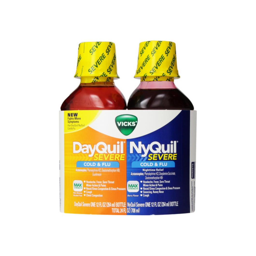 Vicks DayQuil/NyQuil Severe Cold & Flu Liquid Convenience Pack, 12 oz ea