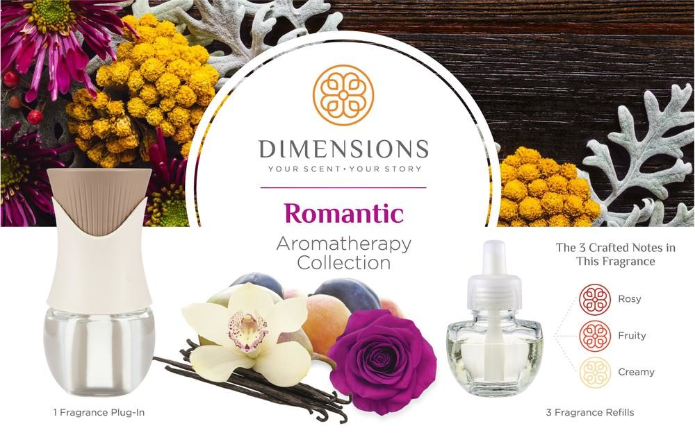 Dimensions Romantic Collection - 3 Pre-blended Fragrance Refills and Fragrance Plugin for up to 4 Months of Brilliant Fragrance