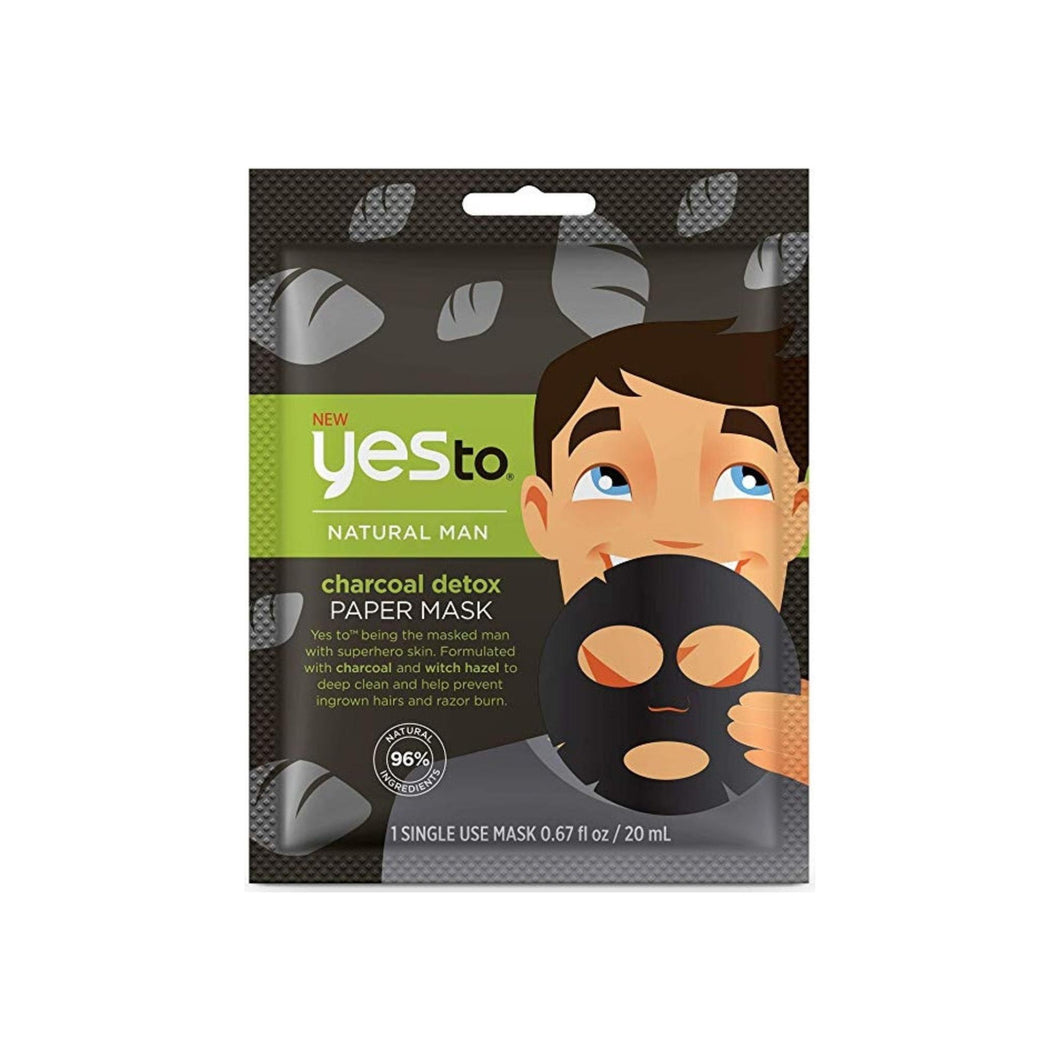 Yes To Natural Man Charcoal Detox Paper Mask, 0.67 oz
