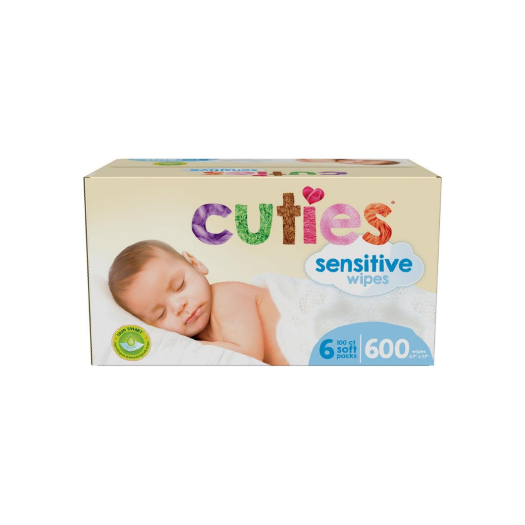 Cuties Complete Care Sensitive Baby Wipes Unscented, 600 ea
