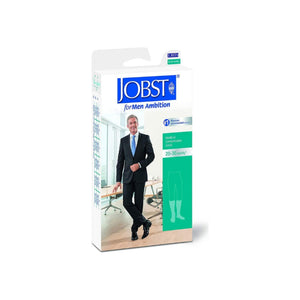 JOBST orMen Ambition Knee High 20-30 mmHg Ribbed Dress Compression Socks, Closed Toe, 1 Long, Black, 1 Pair