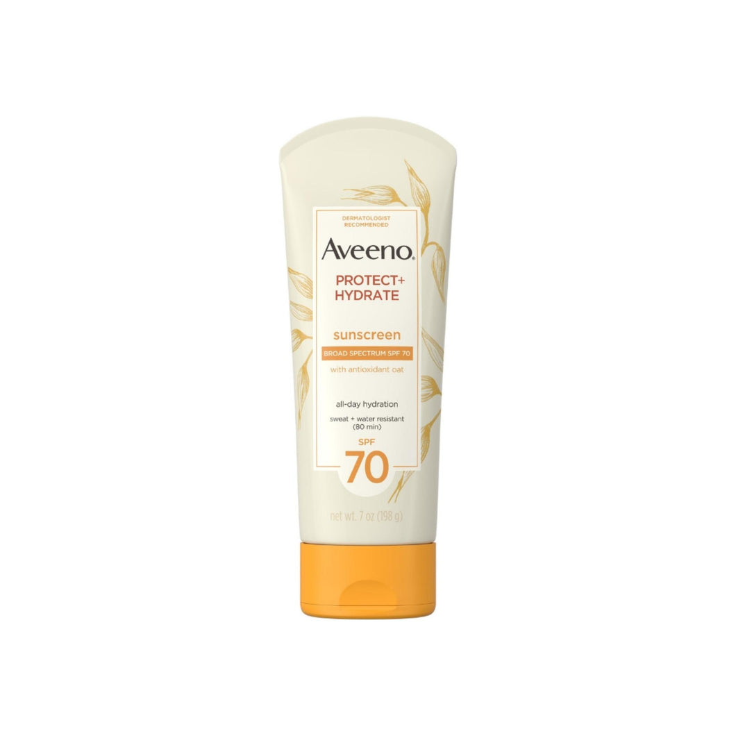Aveeno Protect + Hydrate Moisturizing Sunscreen Lotion with Broad Spectrum SPF 70 & Antioxidant Oat, Oil-Free, Sweat- & Water-Resistant 7  oz