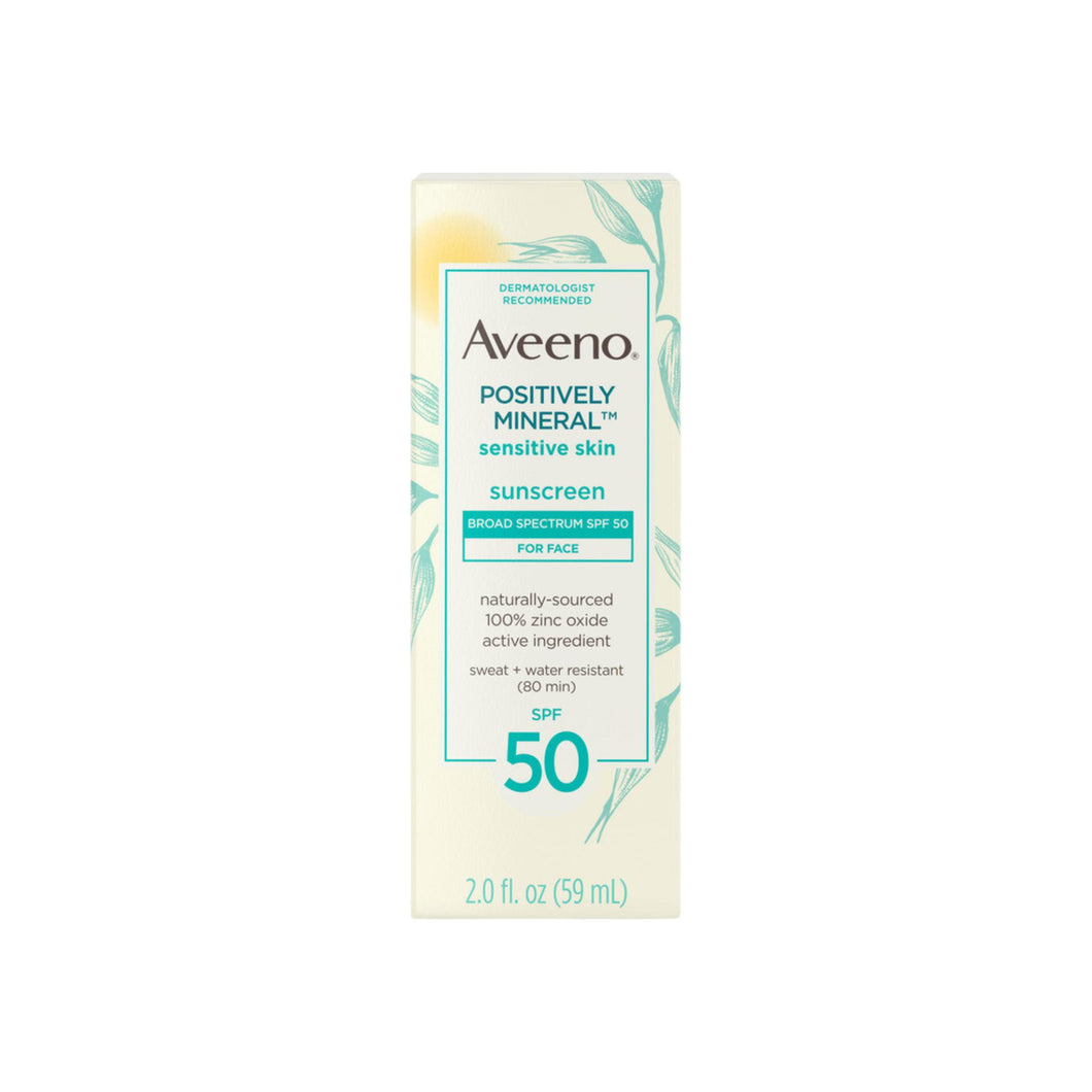 Aveeno Positively Mineral Sensitive Skin Daily Sunscreen Lotion for Face, Broad Spectrum SPF 50 Facial Sunscreen, Travel-Size, 2  oz