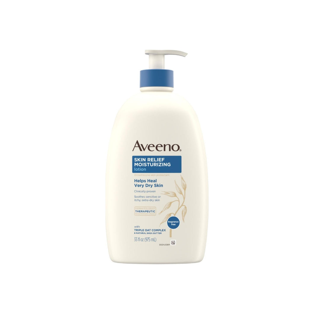 Aveeno Skin Relief Moisturizing Lotion for Sensitive Skin with Natural Shea Butter & Triple Oat Complex, Unscented Therapeutic Lotion  33  oz