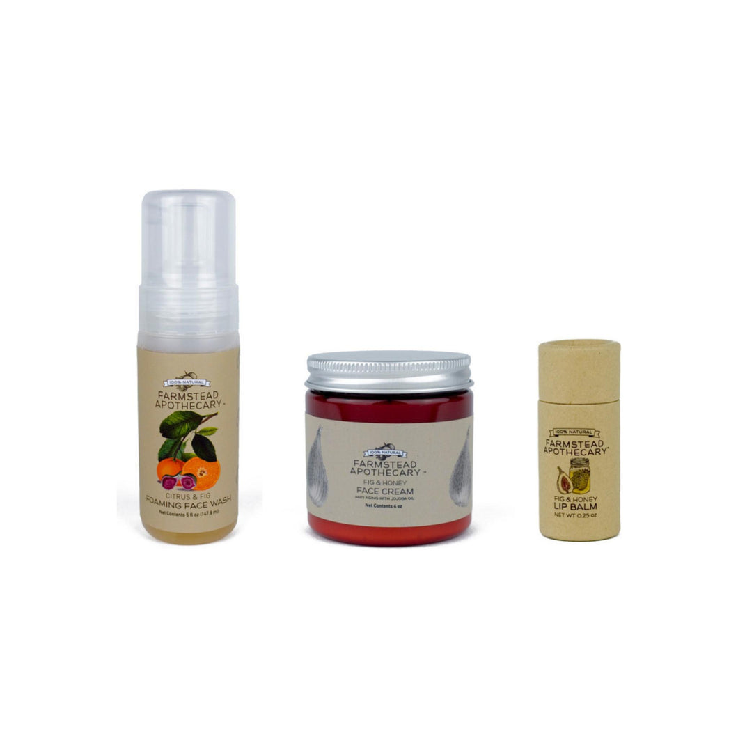 Farmstead Apothecary  100% Natural & Organic FIG Bundle with Fig & Honey 4 oz, Fig & Citrus Face Wash 5 oz ,Fig & Honey Lip Balm 0.25 oz 1 ea