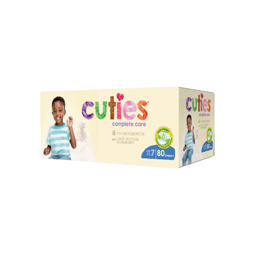 Cuties Complete Baby Diaper Care Tab Closure Size 7 Disposable Heavy Absorbency, 80 ea
