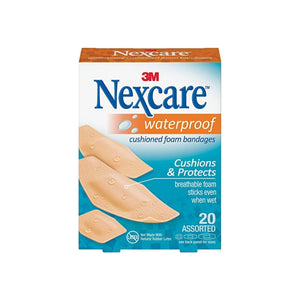 3M Nexcare Waterproof Cushioned Bandages, 20 ea
