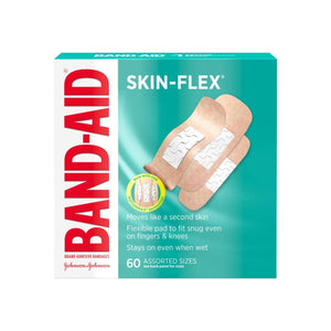 BAND-AID Brand Skin-Flex Adhesive Bandages for First Aid and Wound Care, Assorted Sizes,  60 ea