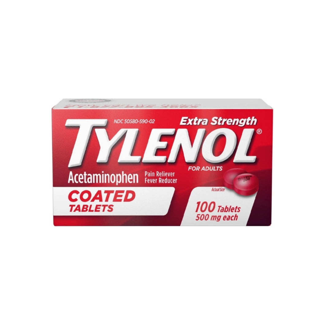 TYLENOL Extra Strength Acetaminophen Adult Pain Relief & Fever Reducer Coated Tablets, 100 ea
