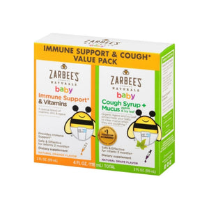 ZarBee's Naturals  Baby Immune Support & Cough Syrup/Mucus Reducer, Orange and Grape, Twin Pack, 4 oz