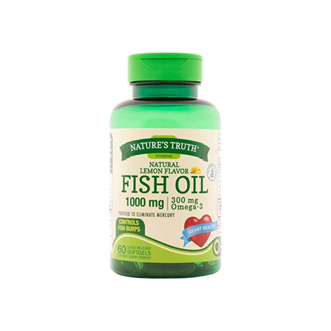 Nature's Truth Fish Oil 1,000 mg, Lemon Flavor, 60 ea