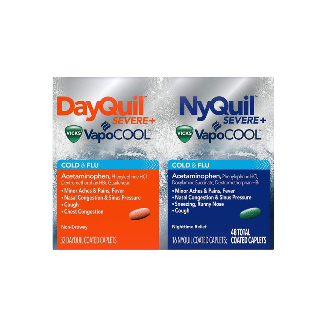 Vicks Dayquil Nyquil Severe Cold & Flu & Nighttime Relief, 48 ea