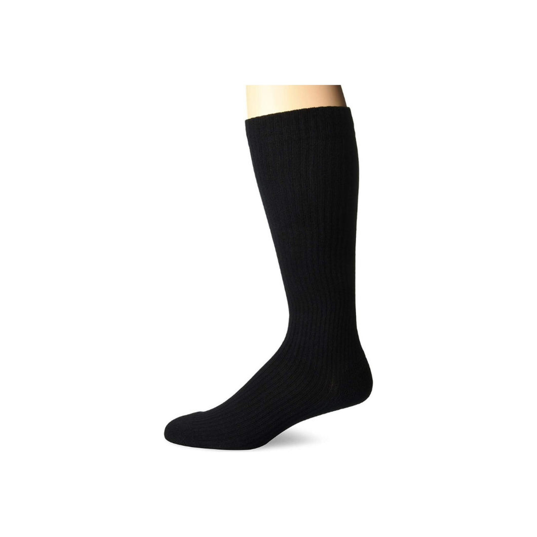 MD USA  Ribbed Cotton Compression Socks with Cushion Soles, Black, Large, 1 ea