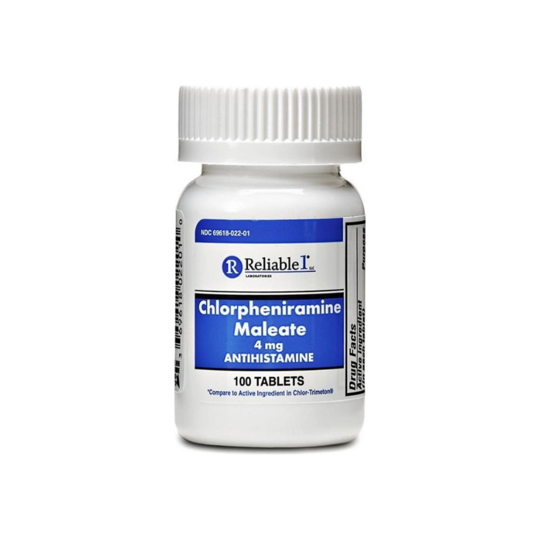 Reliable 1 Laboratories Chlorpheniramine Maleate 4mg, 100 ea