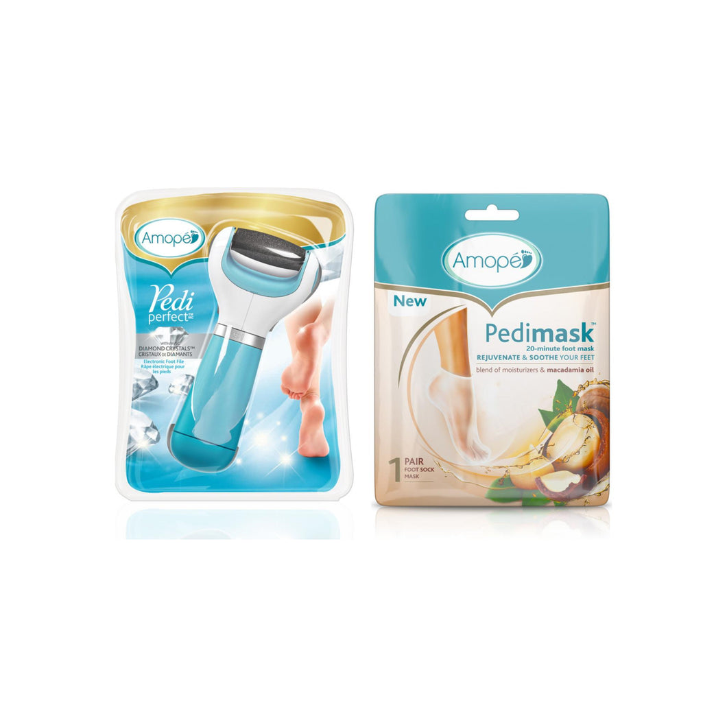 Amope  Pedi Perfect Electronic Foot File - Regular Coarse, Blue with Amope Pedimask Foot Sock Mask, 1 Pair, Macadamia Oil Essence 1 ea