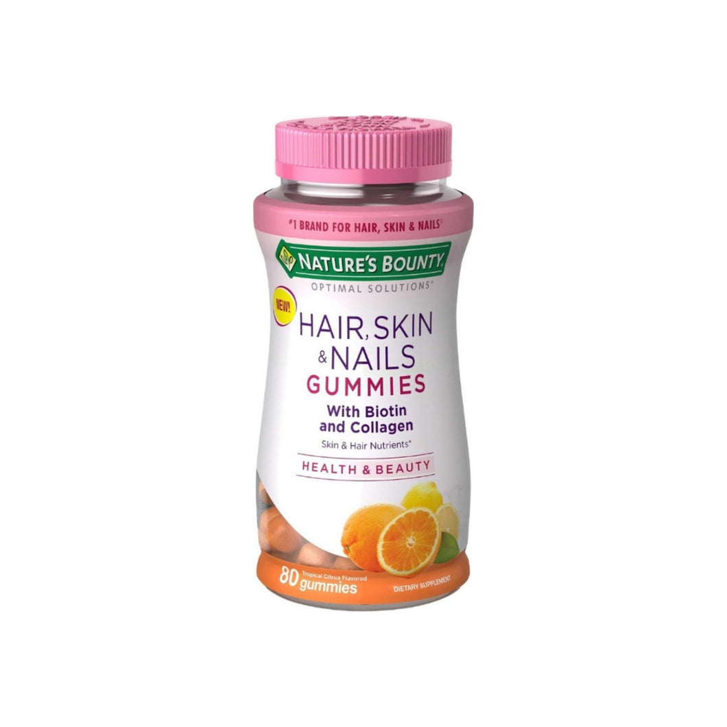 Nature's Bounty Hair, Skin, & Nail Health with Biotin & Collagen Dietary Supplement Gummies, Orange,  80 ea