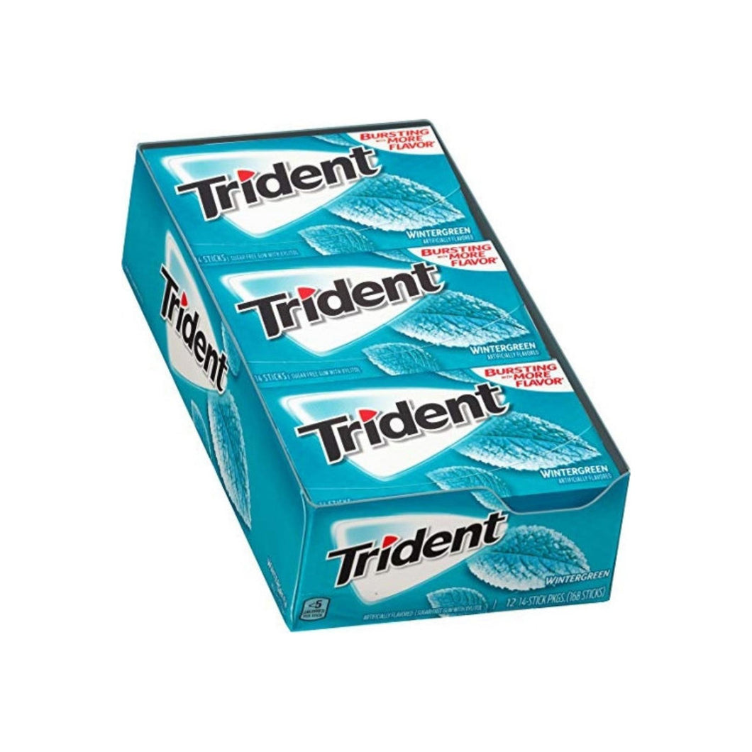 Trident Wintergreen Mint Sugar Free Gum, 12 ea