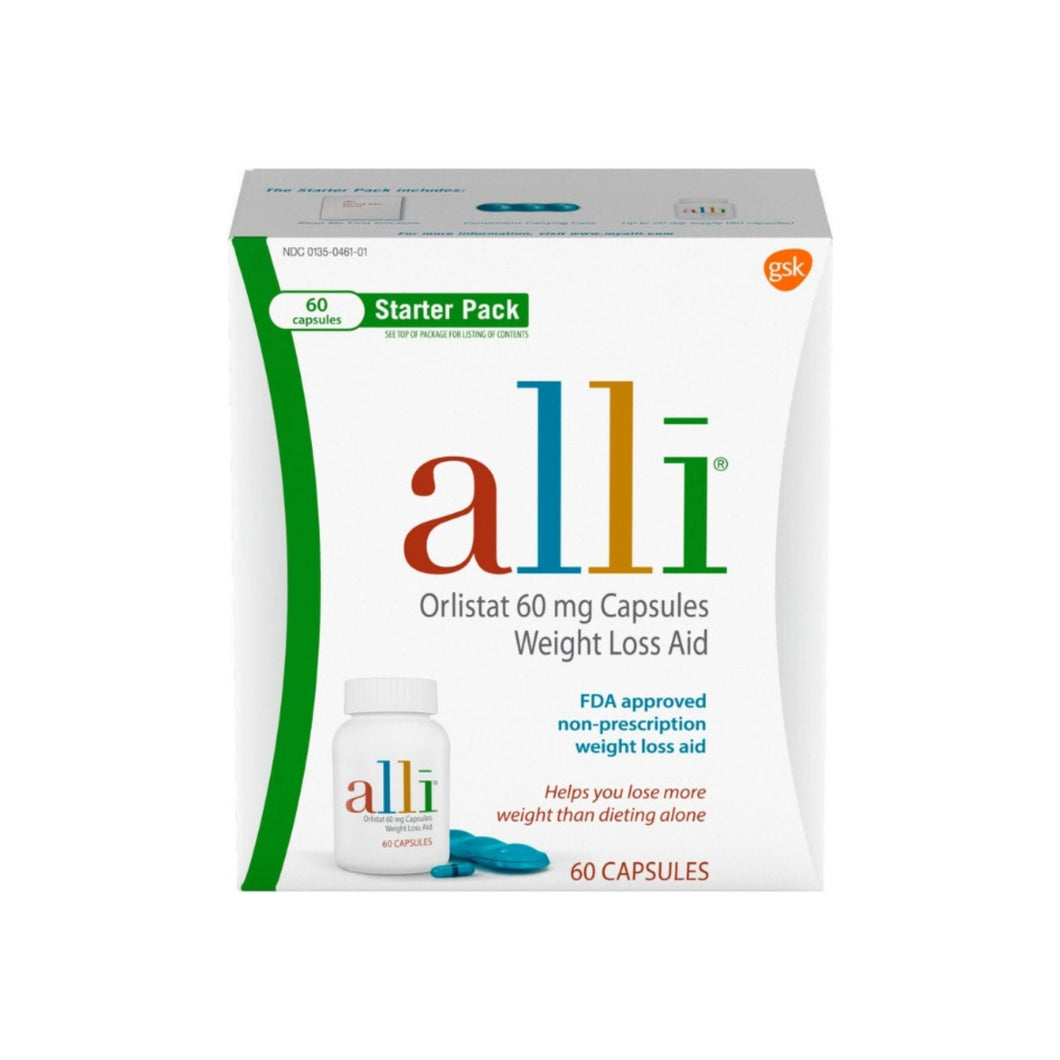 Alli  Orlistat 60mg Weight Loss Aid Starter Kit Capsules, 60 ea