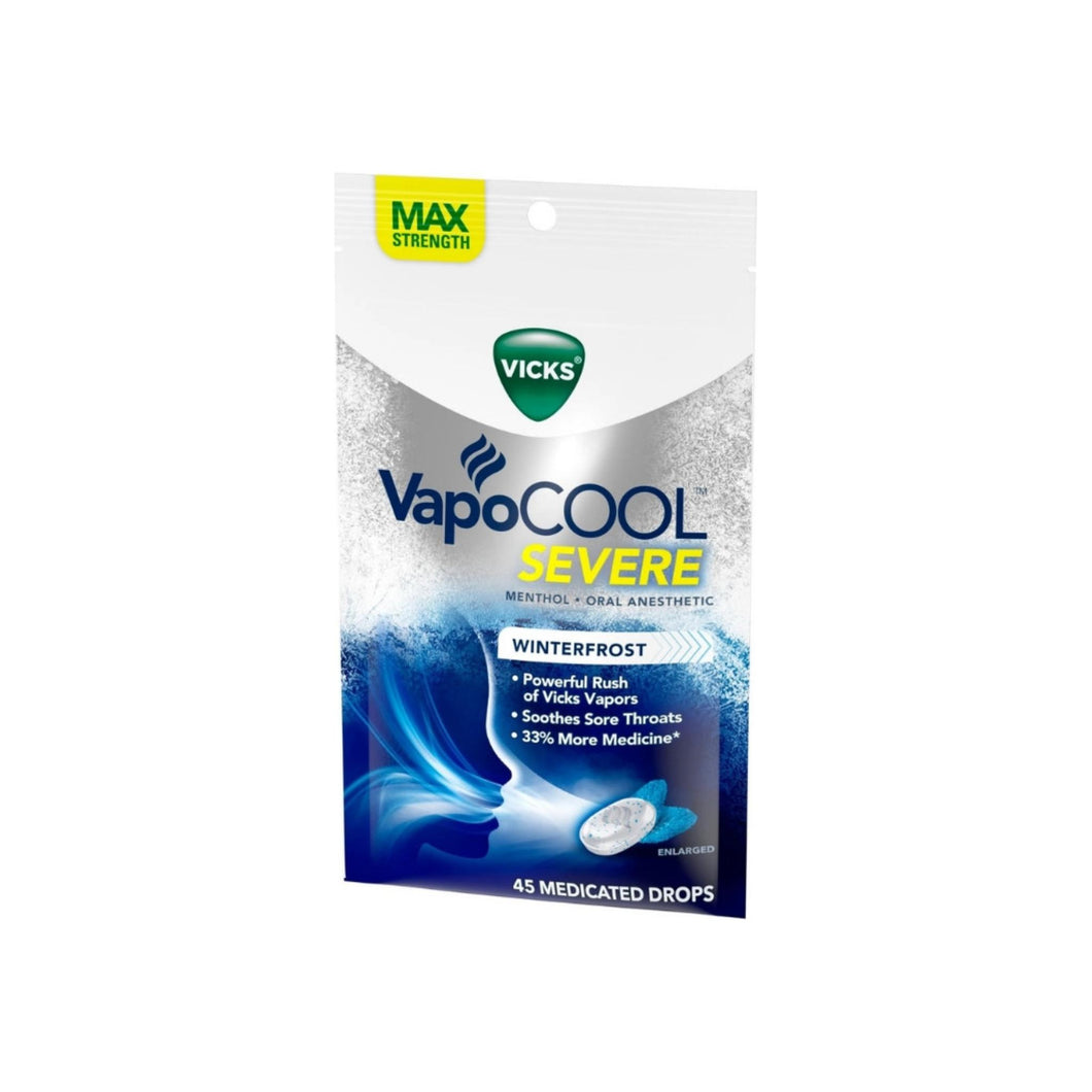 Vicks VapoCOOL Severe Medicated Throat Drops, Menthol,  45 ea