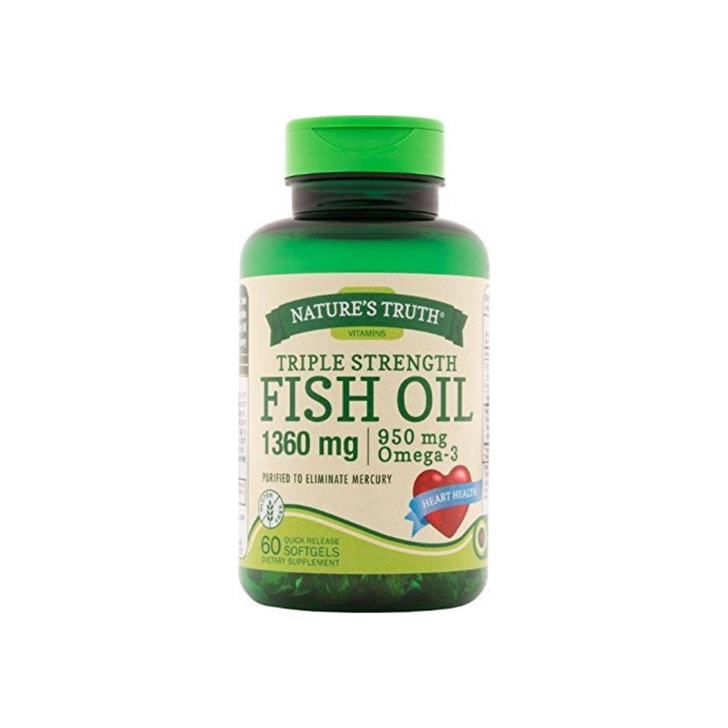 Nature's Truth Triple Strength Fish Oil 1360 mg Capsules, 60 ea
