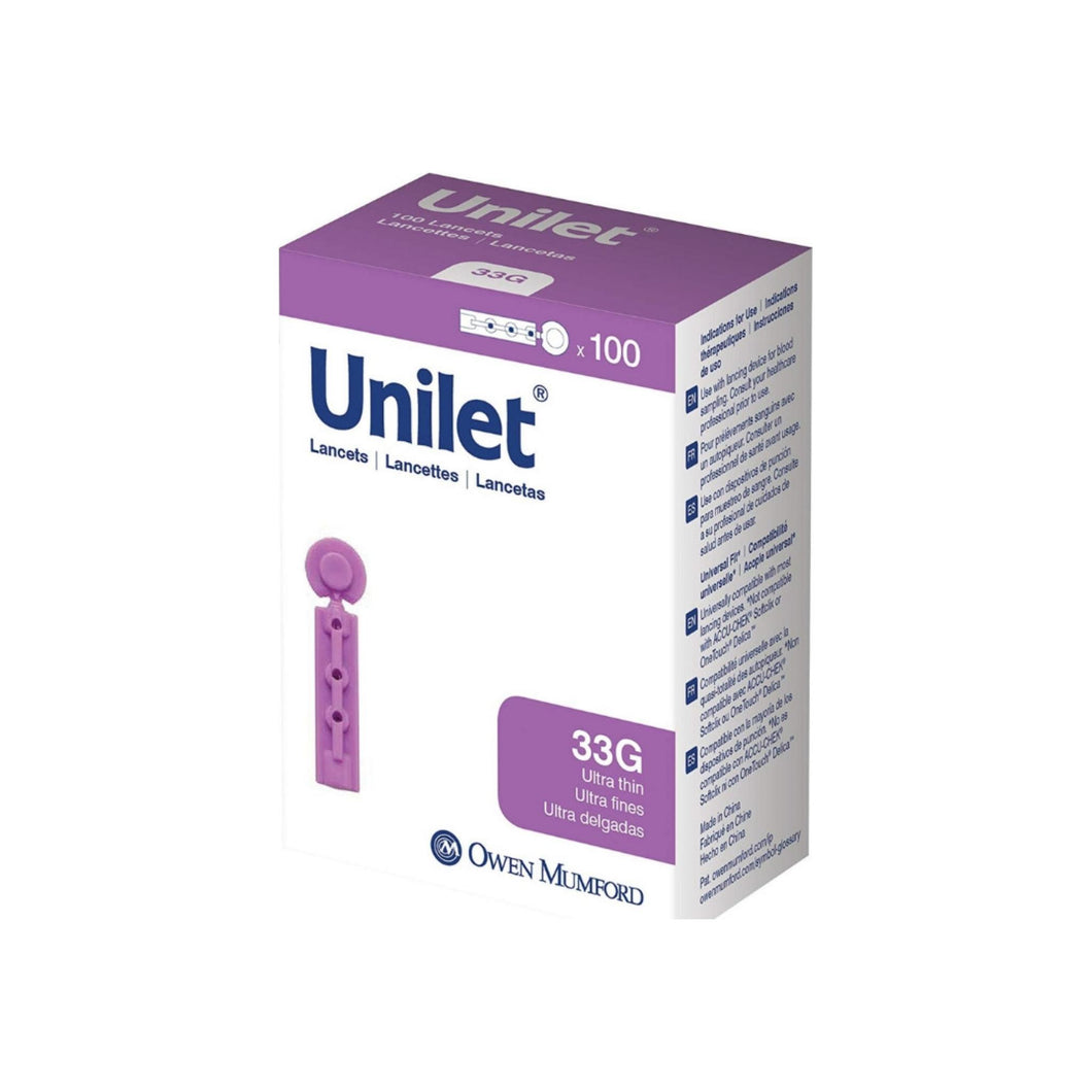 Unilet Sharepened Needle Unilet Lancets, 100 ea