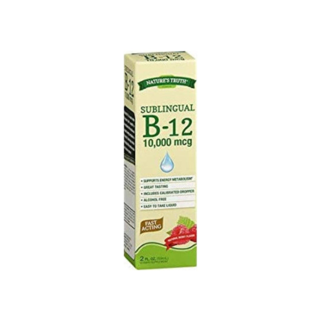 Nature's Truth Sublingual B-12 10,000mcg Vitamin Supplement, Berry Flavor, 2 oz