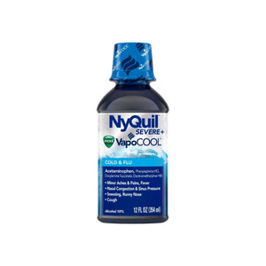 Vicks NyQuil Severe with Vapocool Nighttime Cold & Flu Relief Liquid, 12 oz