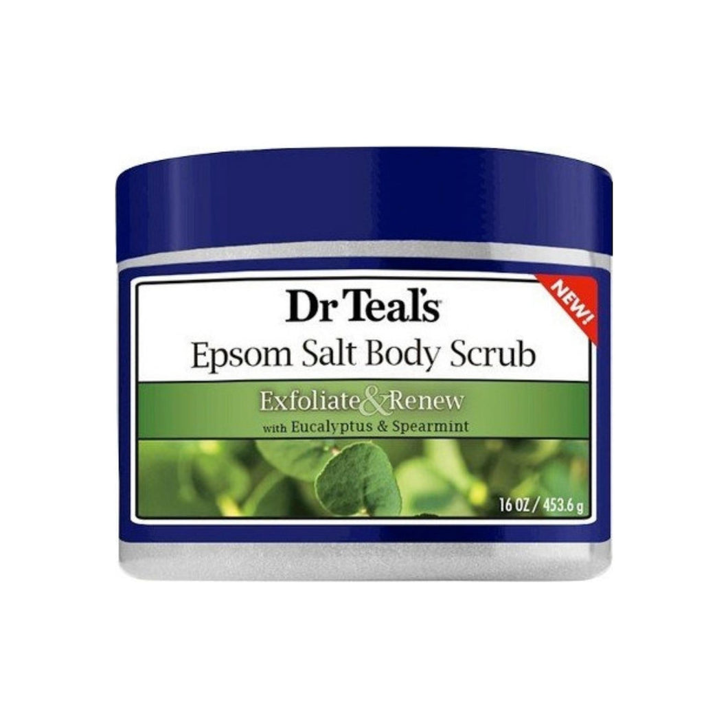 Dr Teal's Exfoliate & Renew Eucalyptus & Spearmint Epsom Salt Body Scrub, 16 oz