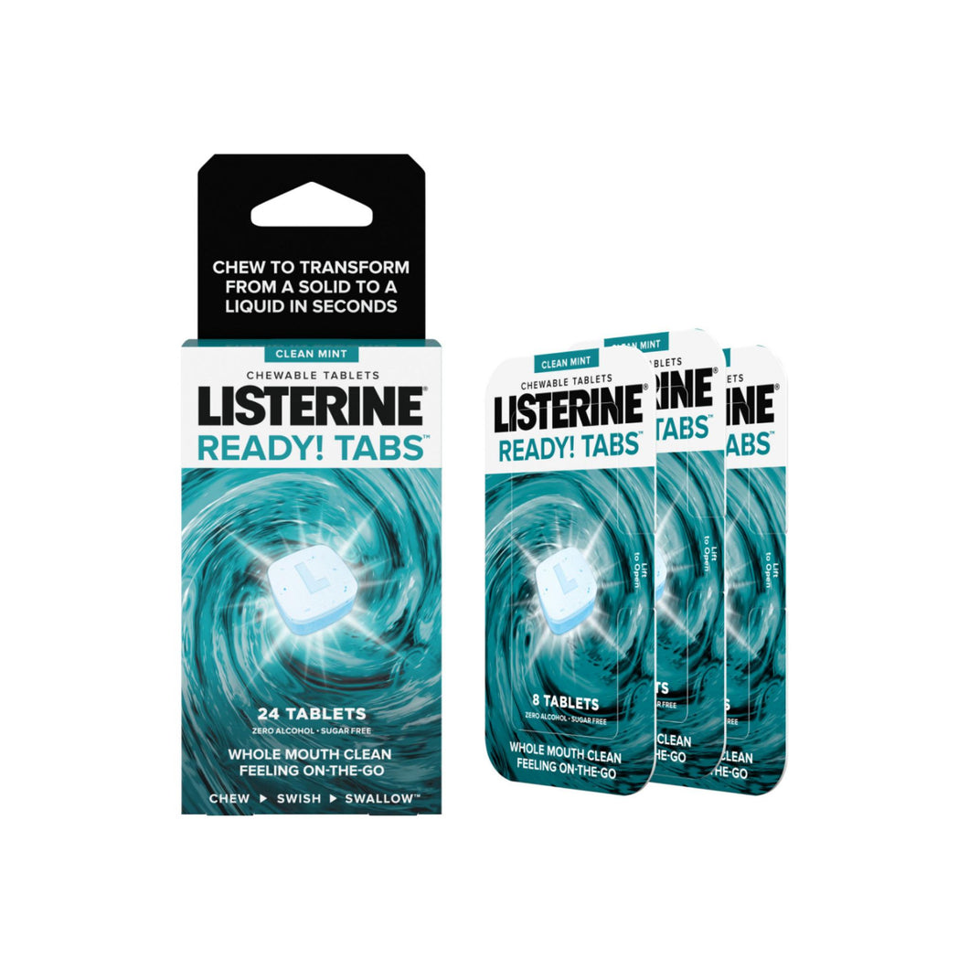 Listerine Ready! Tabs Chewable Tablets with Clean Mint Flavor, Revolutionary 4-Hour Fresh Breath Tablets, Sugar-Free & Alcohol-Free, 24 ea