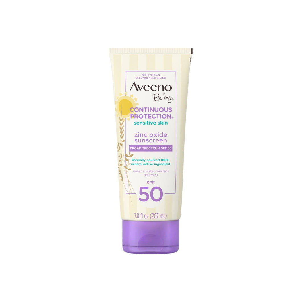 AVEENO Baby Continuous Protection Zinc Oxide Mineral Sunscreen Lotion for Sensitive Skin SPF 50,Water-Resistant, 7 oz