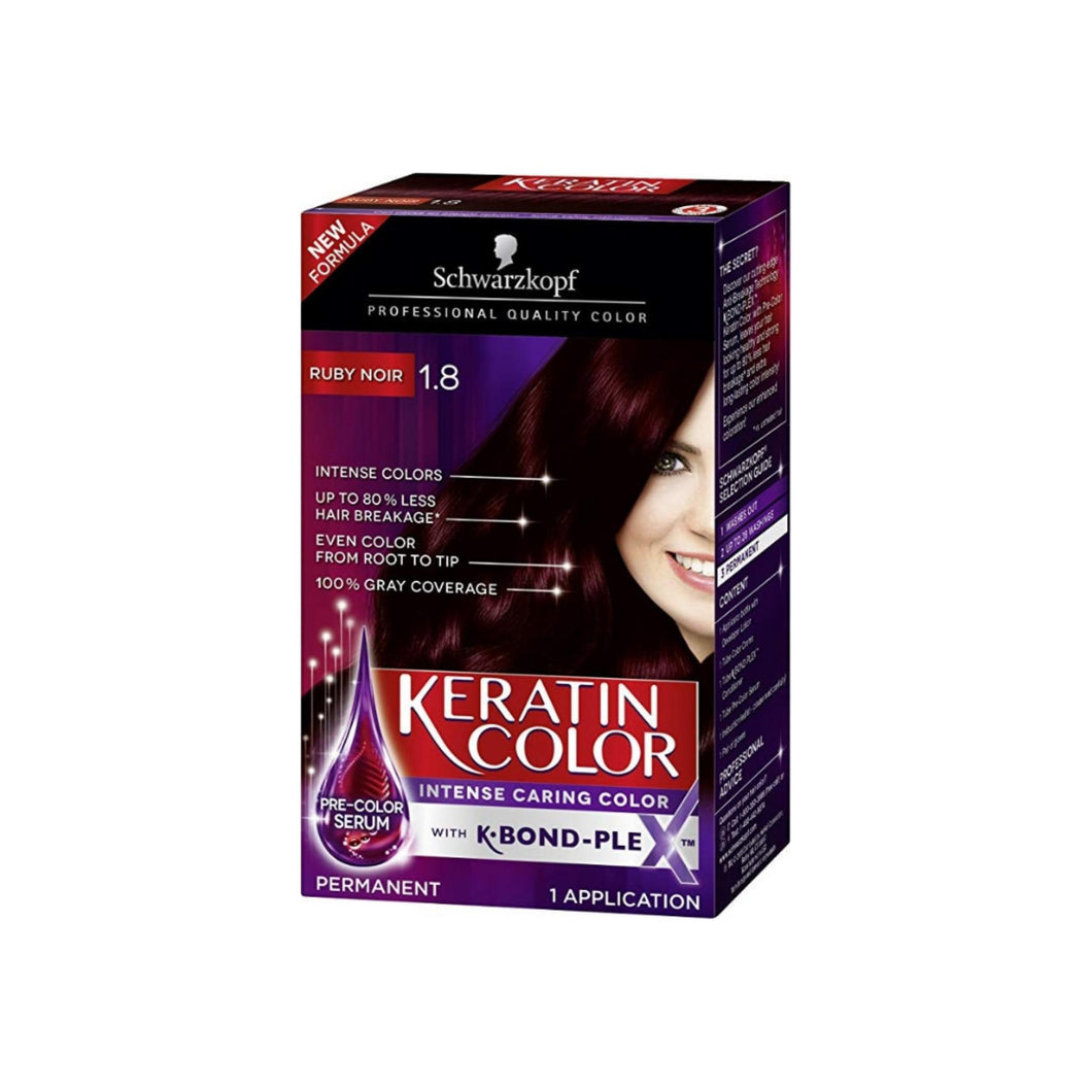 Schwarzkopf Keratin Color Intense Caring Cream, #1.8 Ruby Noir, 1 ea