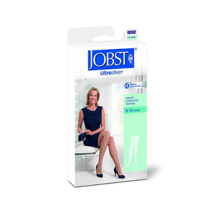 JOBST Ultra Sheer Support Thigh High Compression Stockings, Black, Small, 1 Pair [035664172299]