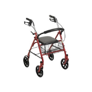 "4 Wheel Rollator McKesson 31 to 37"" Red Folding Steel 31 to 37 Inch"