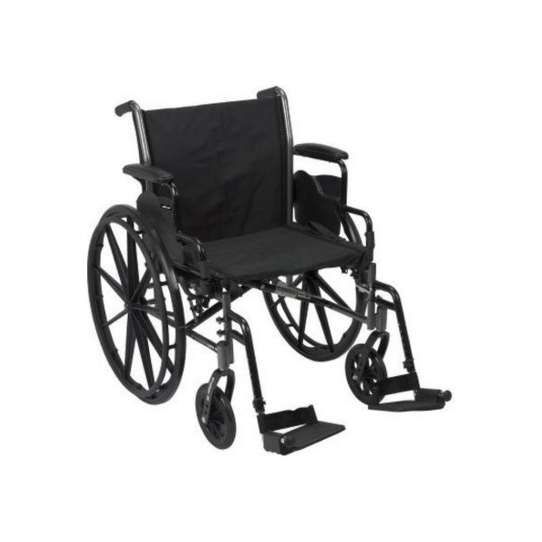 McKesson Drive Wheelchair Lightweight, Dual Axle Flip Back Detachable Padded Desk Arm Composite