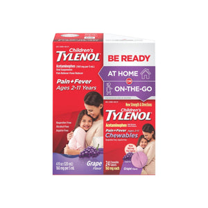 Tylenol Children's Pack, Liquid (4 fl. oz) and Chewables (24 ct), Pain + Fever Relief, Grape Flavor, 1  ea - Pharmapacks