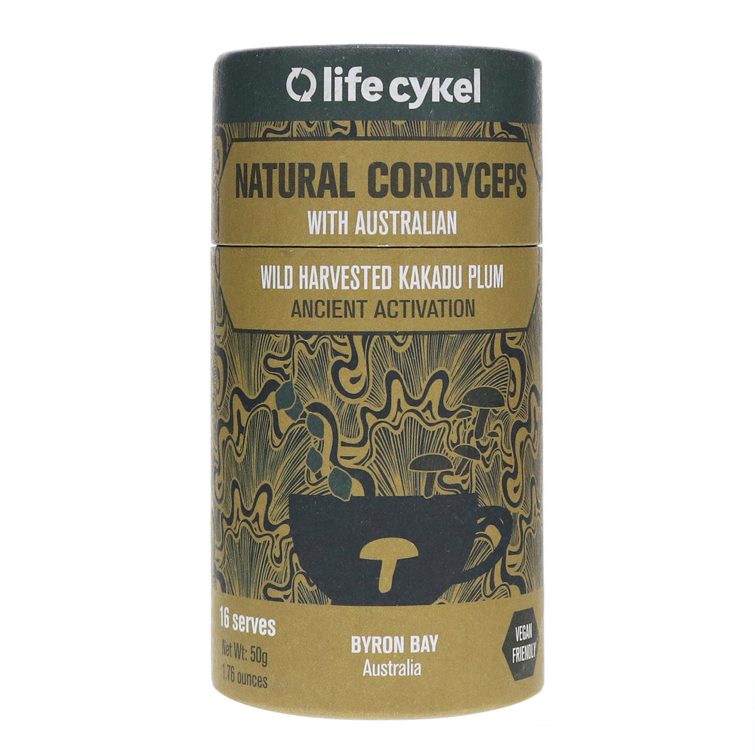 Life Cykel 100% Natural Cordyceps Mushroom with Australian Wild Harvested Kakadu Plum - Ancient Fuel for the Modern World - Energy, Improved Endurance and Daily Performance - (16 Servings) - 50g