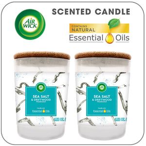 Air Wick Scented Candles with Essential Oils, Aromatherapy Candles Jar, Sea Salt & Driftwood,up to 70 hours burn time per 2 pack, 2x6.52oz 1 ea