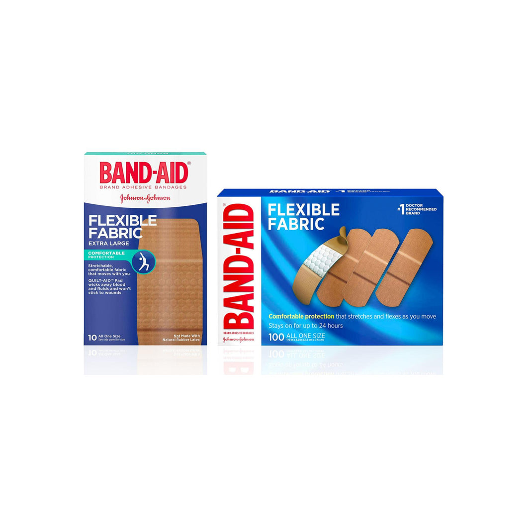BAND-AID Brand Flexible Fabric Adhesive Bandages for Wound Care & First Aid, 1 Box Extra Large Size 10 ct and 1 Box All One Size 100 ct
