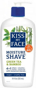 Kiss My Face Green Tea & Bamboo Moisture Shave, 4-in-1 Cream Formula, 11oz, 1pc