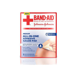 BAND-AID All-in-One Adhesive Gauze Pad, Medium 5 ea