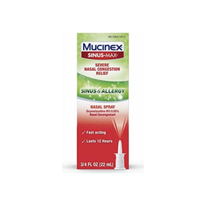 Mucinex Sinus & Allergy Fast Acting Nasal Congestion Relief Spray, Fast Acting 12 Hour Severe Nasal Congestion Relief .75 oz