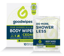 Load image into Gallery viewer, Goodwipes Body Wipes, Cedar Scent, 10 Individually Wrapped Wet Wipes