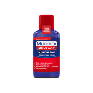 Mucinex Sinus-Max Max Strength Night Time Cough & Congestion Relief Liquid 6 oz