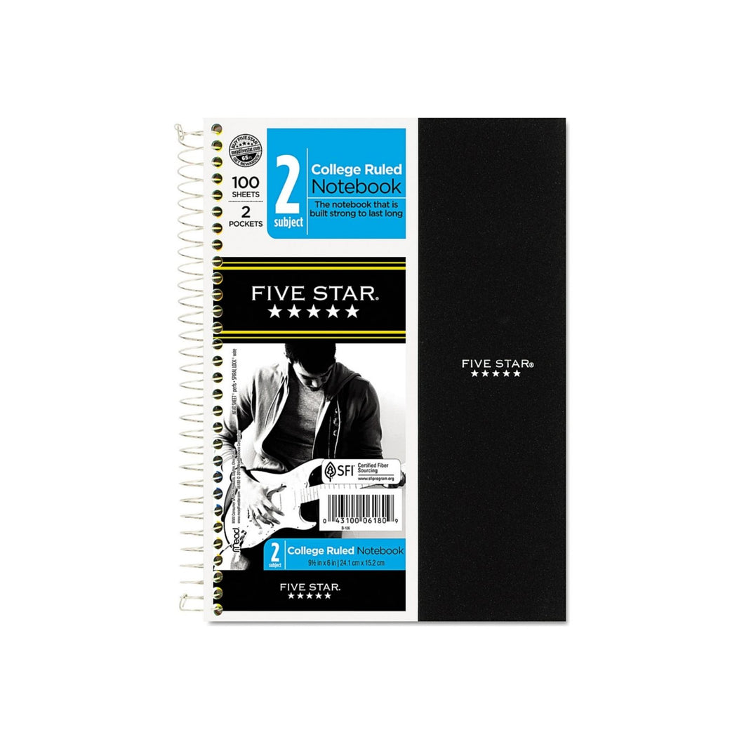 Five Star 2 Subject Wirebound College Ruled Notebook 100 Sheets, 9.5