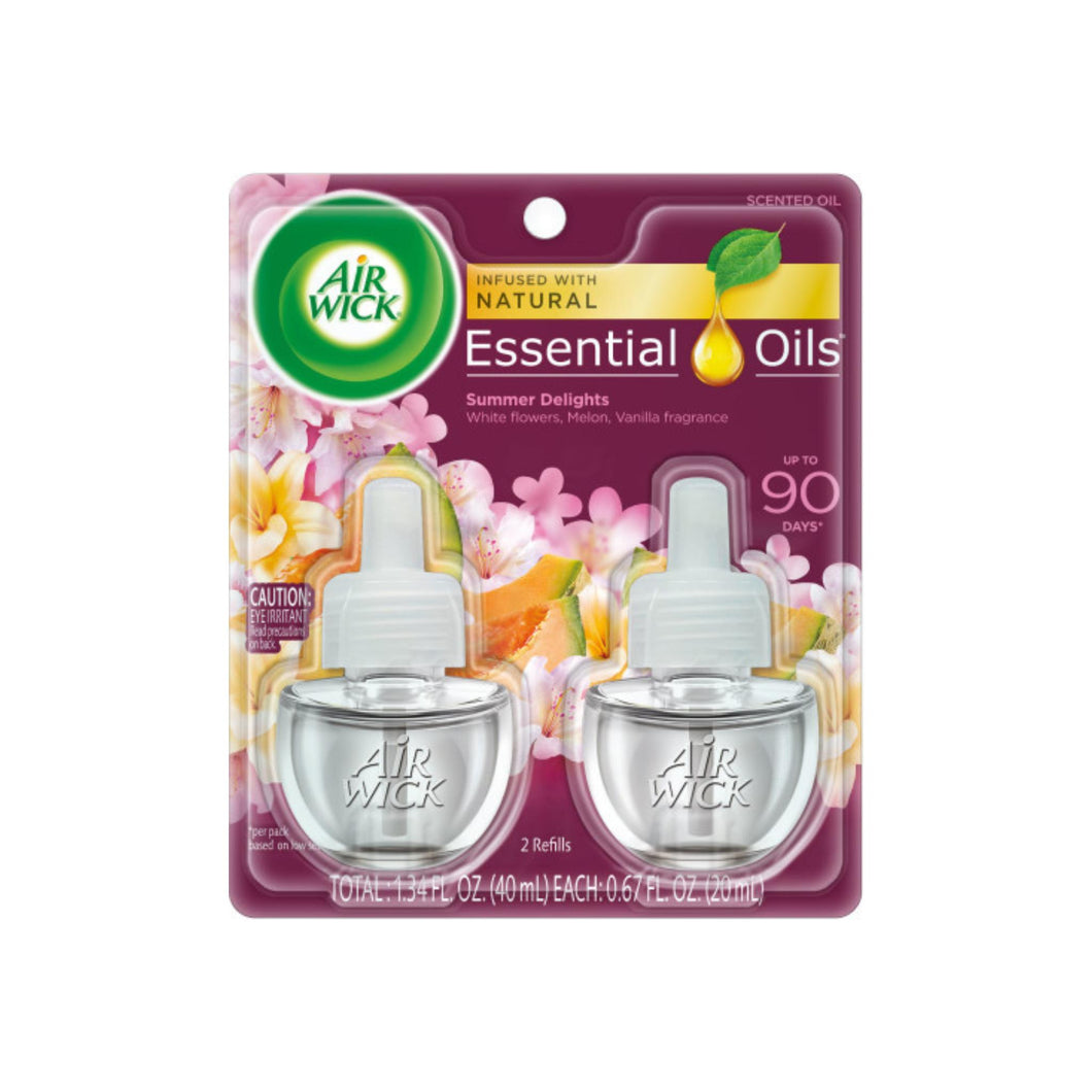 Air Wick Scented Oil Twin Refill Life Scents Summer Delights (White Flowers/Melon/Vanilla) (2X.67) oz
