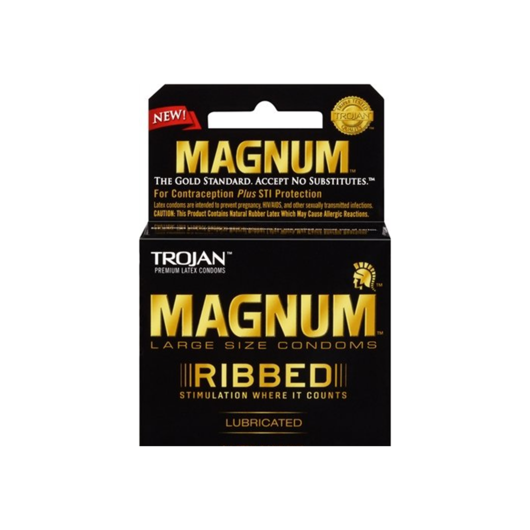 TROJAN Magnum Ribbed Lubricated Latex Condoms 3 ea