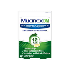 Mucinex DM 12-Hour Expectorant and Cough Suppressant Tablets, 20 ct