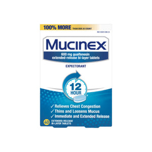 Mucinex 12 Hr Chest Congestion Expectorant, Tablets 40 ea