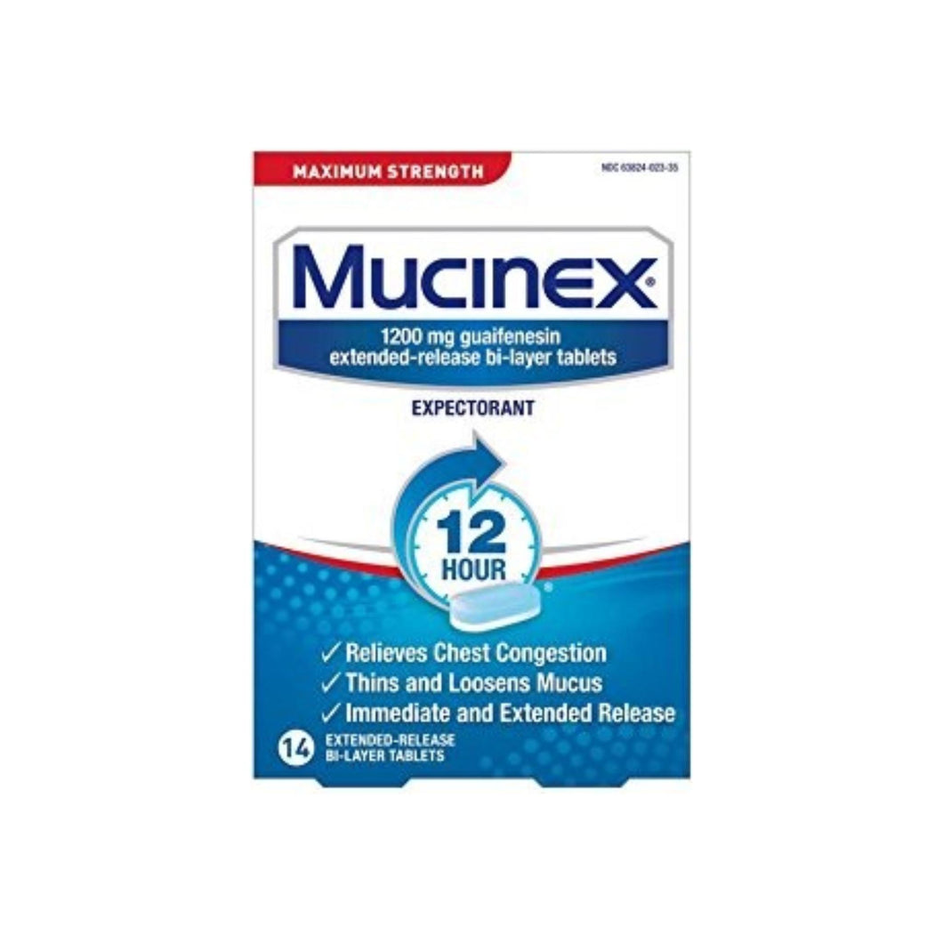 Mucinex 12 Hr Max Strength Chest Congestion Expectorant Tablets, 14ct